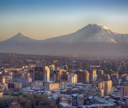 View of the city of Yerevan, the capital of Armenia.  Mount Ararat (5.137 m), the national symbol of Armenia, is the background of the city, but already on Turkish territory. The lower mountain on the left side is Little Ararat (3.896 m). In parts of Christianity it is accepted that Mount ararat is the resting place of Noah's Ark.