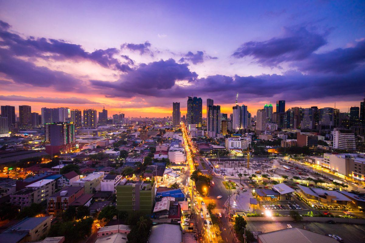 Manila city at Twilight showing Makati City and Ortigas