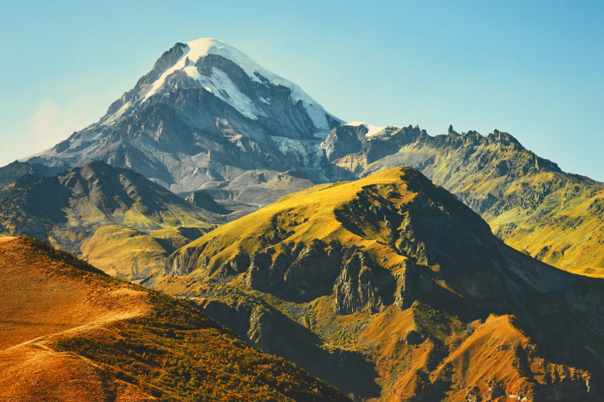 Mount Kazbek in the Caucasus Mountains.