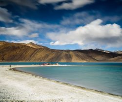 Long exposure of pangong lake in cloudy day