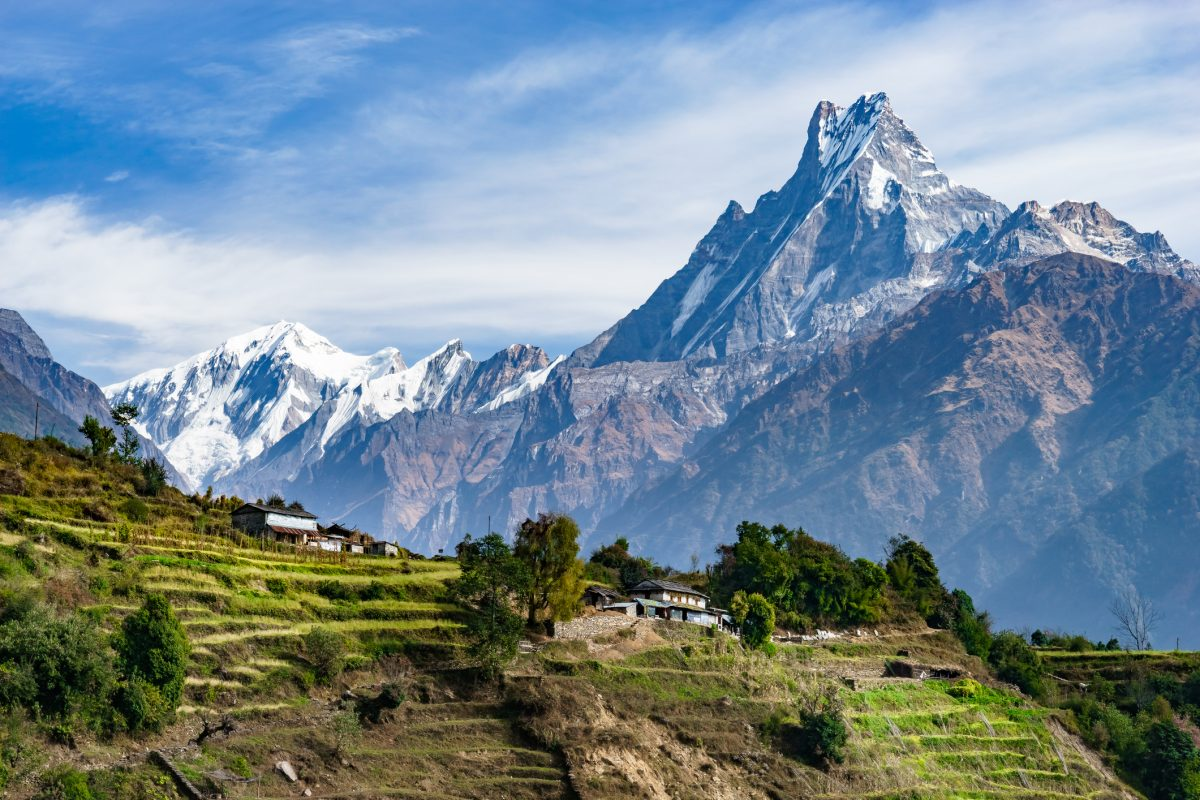 Machhapuchhre and Terraced Fields, Nepal