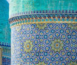 Traditional Islamic architecture at Barak Khan Madrassah on Hazrat Imam Square in Tashkent Uzbekistan on a sunny day.