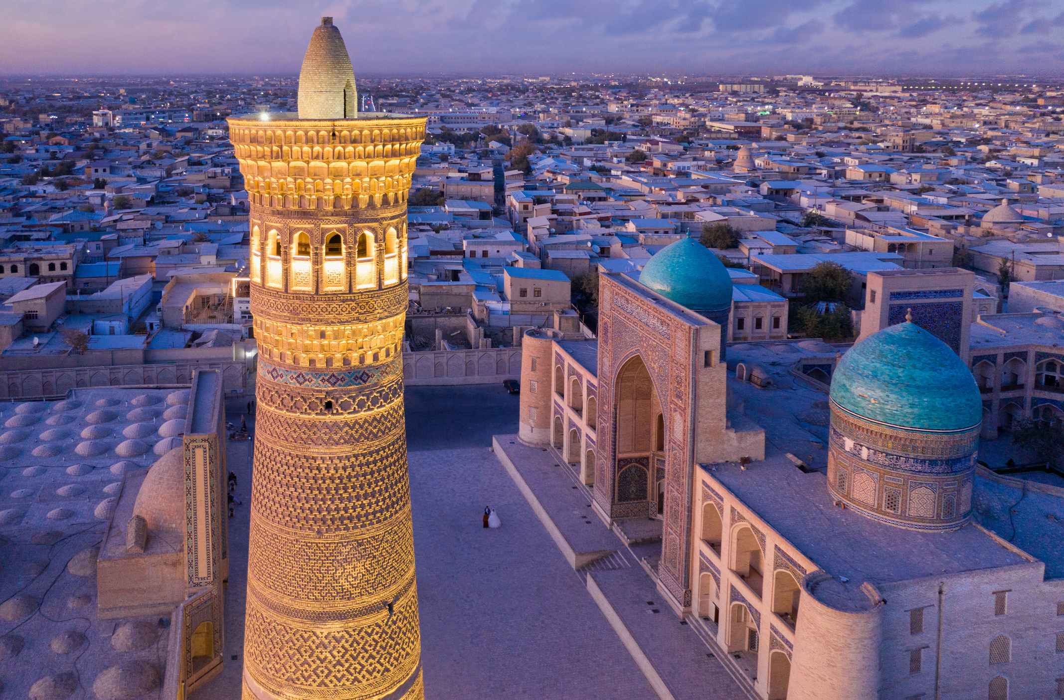 Bukhara Uzbekistan Kalyan Minaret Po-i-Kalyan Sunset Twilight